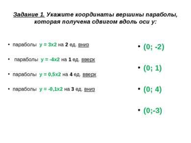 Задание 1. Укажите координаты вершины параболы, которая получена сдвигом вдол...