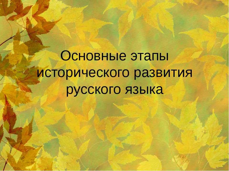 Основные этапы исторического развития русского языка