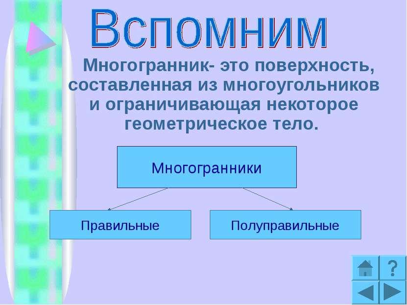Многогранник- это поверхность, составленная из многоугольников и ограничивающ...