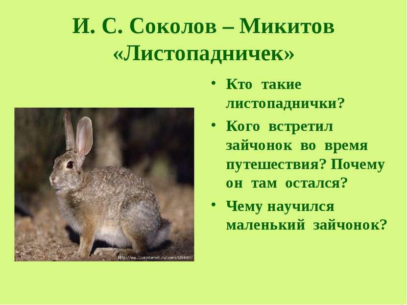 И. С. Соколов – Микитов «Листопадничек» Кто такие листопаднички? Кого встрети...