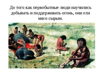 До того как первобытные люди научились добывать и поддерживать огонь, они ели...