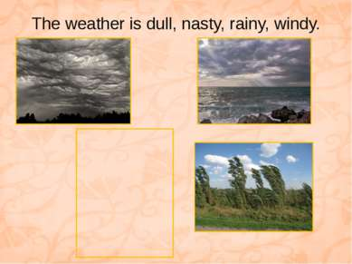 The weather is dull, nasty, rainy, windy.