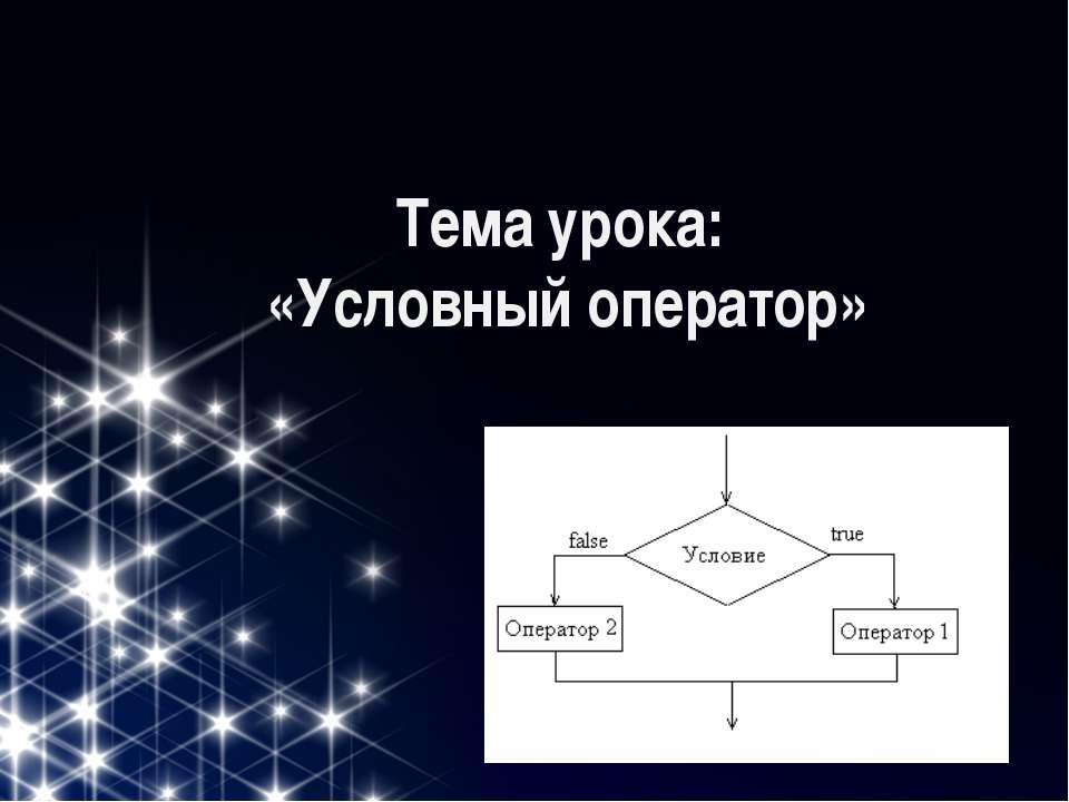 Тема урока: «Условный оператор»