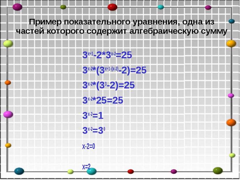Пример показательного уравнения, одна из частей которого содержит алгебраичес...