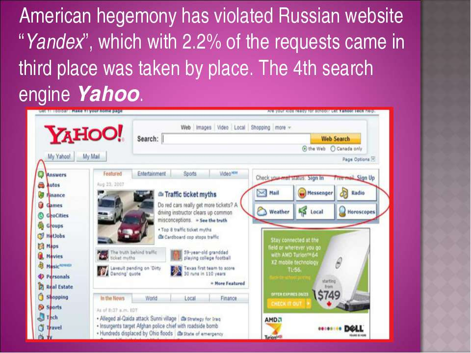 "American hegemony has violated Russian website ""Yandex"", which with 2.2% of t..."