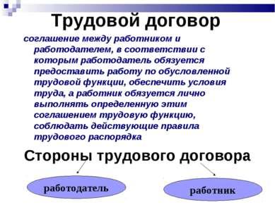 Трудовой договор соглашение между работником и работодателем, в соответствии ...