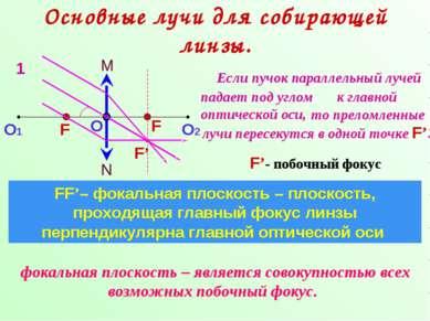 Основные лучи для собирающей линзы. N M О О1 О2 F F FF'– фокальная плоскость ...