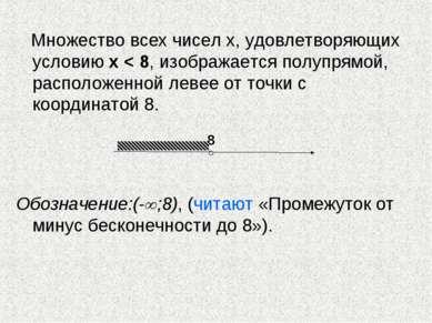 Множество всех чисел х, удовлетворяющих условию х < 8, изображается полупрямо...