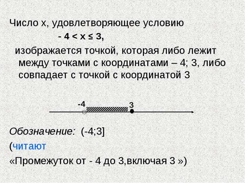 Число х, удовлетворяющее условию - 4 < х ≤ 3, изображается точкой, которая ли...