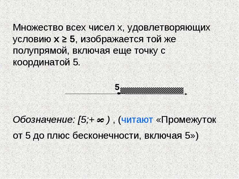 Множество всех чисел х, удовлетворяющих условию х ≥ 5, изображается той же по...