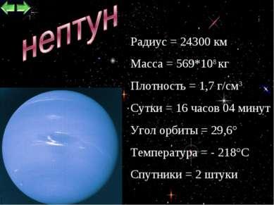 * Радиус = 24300 км Масса = 569*108 кг Плотность = 1,7 г/см3 Сутки = 16 часов...