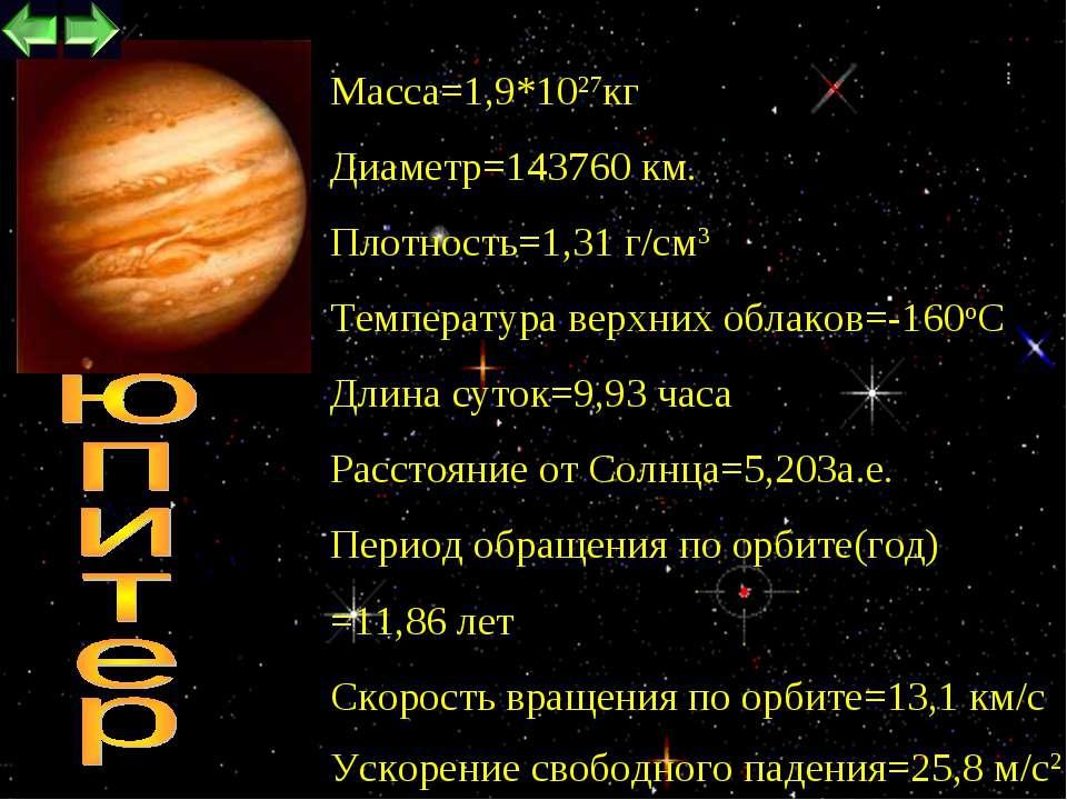 * Maccа=1,9*1027кг Диаметр=143760 км. Плотность=1,31 г/см3 Температура верхни...