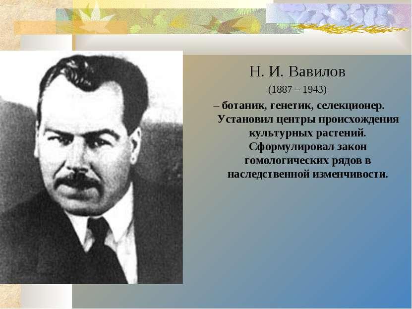 Н. И. Вавилов (1887 – 1943) – ботаник, генетик, селекционер. Установил центры...