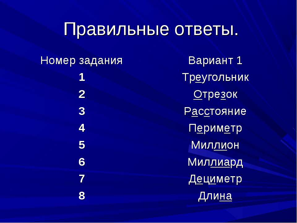 Правильные ответы. Номер задания Вариант 1 1 Треугольник 2 Отрезок 3 Расстоян...