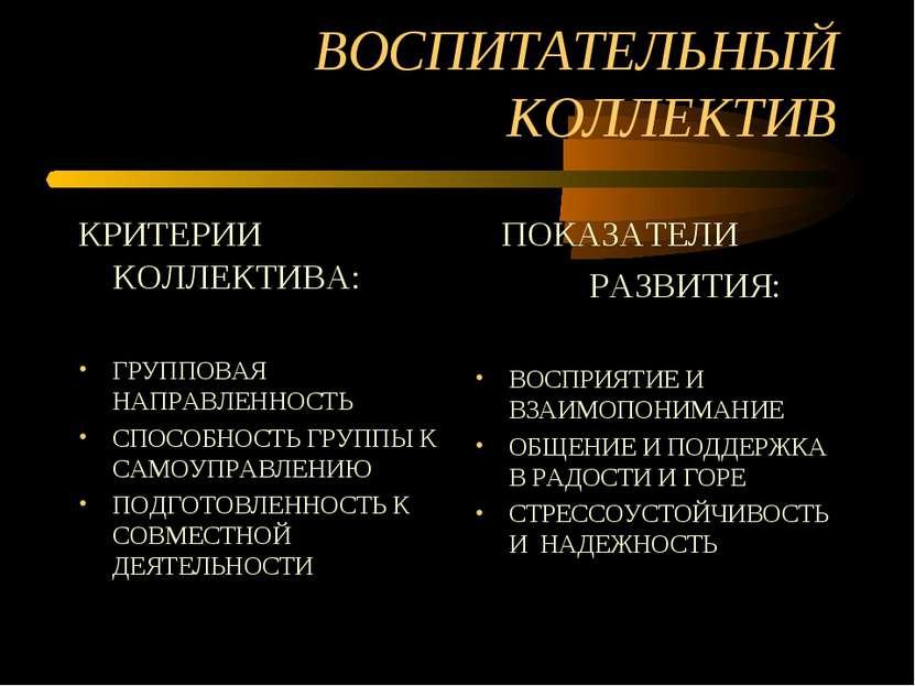 ВОСПИТАТЕЛЬНЫЙ КОЛЛЕКТИВ КРИТЕРИИ КОЛЛЕКТИВА: ГРУППОВАЯ НАПРАВЛЕННОСТЬ СПОСОБ...