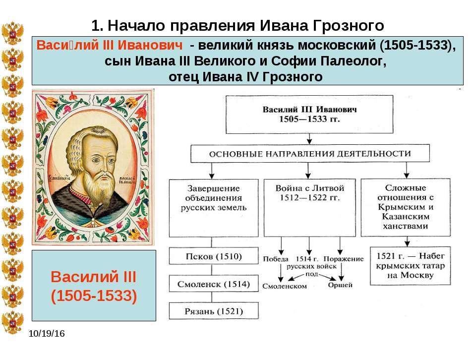 * 1. Начало правления Ивана Грозного Васи лий III Иванович - великий князь м...
