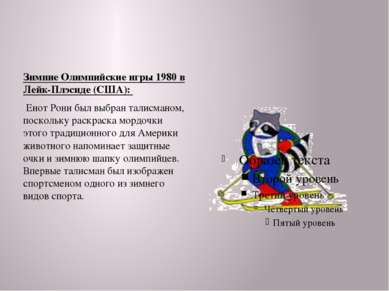 Зимние Олимпийские игры 1980 в Лейк-Плэсиде (США): Енот Рони был выбран талис...