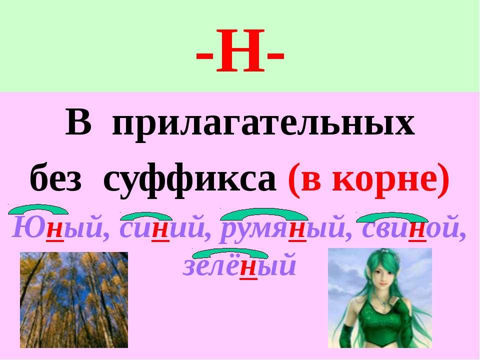 -Н- В прилагательных без суффикса (в корне) Юный, синий, румяный, свиной, зел...