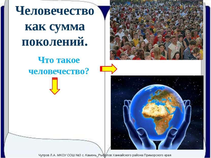 Человечество как сумма поколений. Что такое человечество? Сумма всех людей, ж...