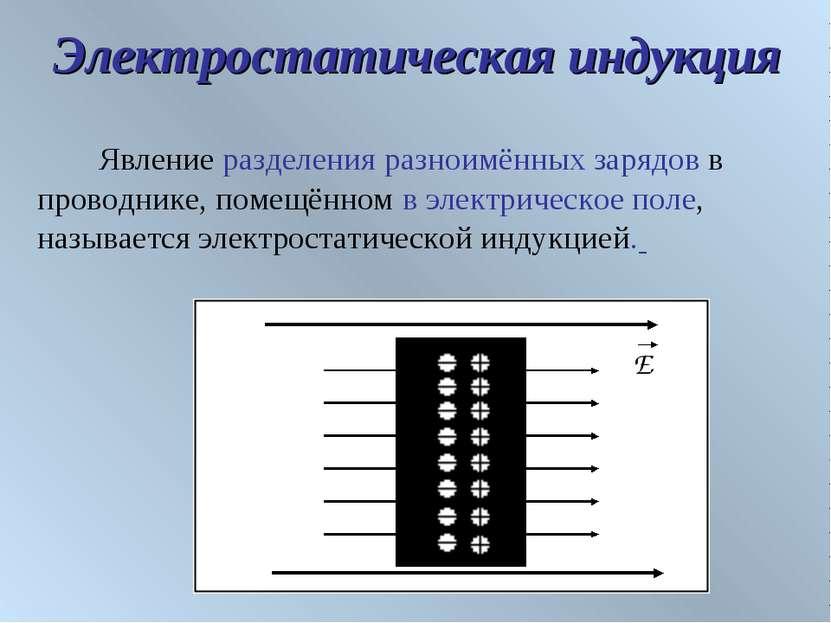 Электростатическая индукция Явление разделения разноимённых зарядов в проводн...