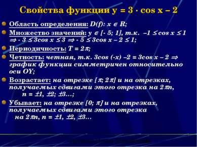 Свойства функции y = 3 · cos x – 2 Область определения: D(f): х R; Множество ...