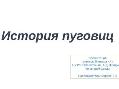 История пуговиц Презентация ученицы 5 класса «А» ГБОУ СОШ №654 им. А.Д. Фридм...