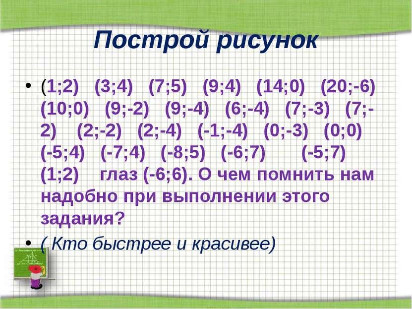 Построй рисунок (1;2) (3;4) (7;5) (9;4) (14;0) (20;-6) (10;0) (9;-2) (9;-4) (...