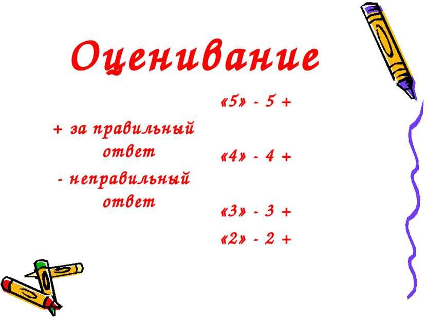 Оценивание + за правильный ответ - неправильный ответ «5» - 5 + «4» - 4 + «3»...