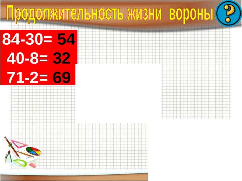 84-30= 54 40-8= 32 71-2= 69 -2= 59 26+ =57 87- =47 61 38-20+ =40 14+ -20=20 6...
