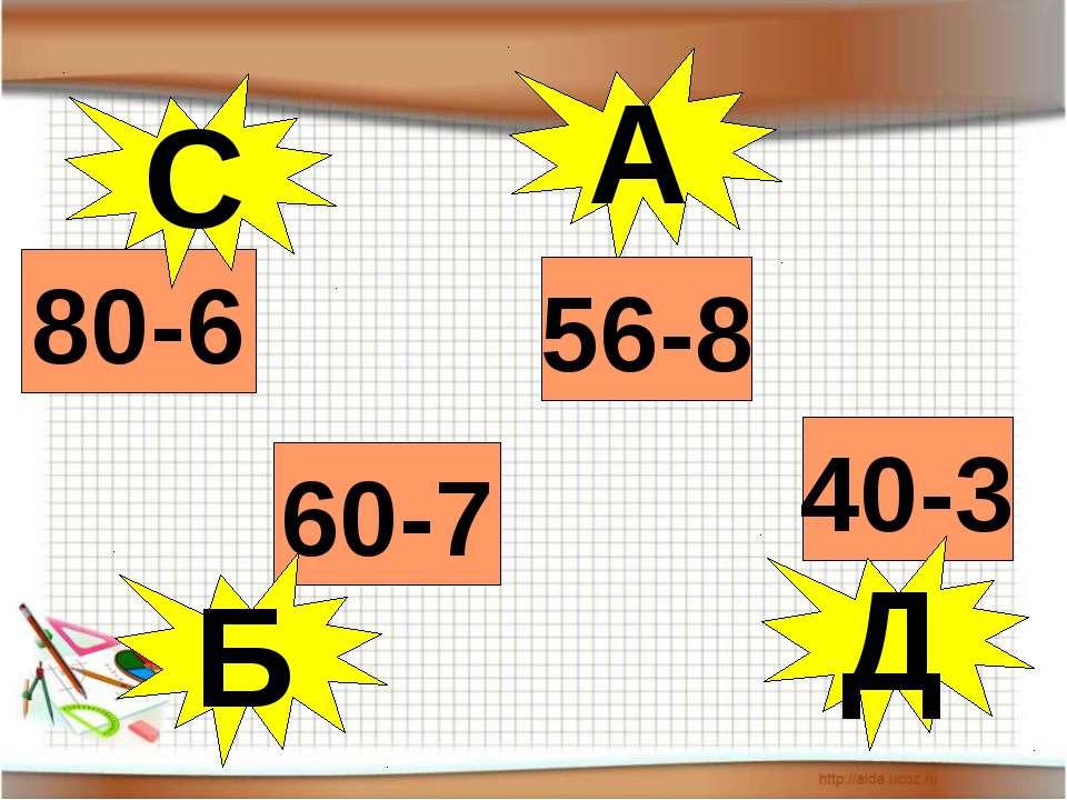А 80-6 60-7 56-8 С 40-3 Д Б