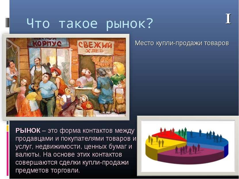 Что такое рынок? Место купли-продажи товаров РЫНОК – это форма контактов межд...