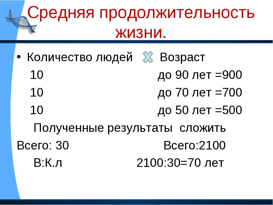 Средняя продолжительность жизни. Количество людей Возраст 10 до 90 лет =900 1...