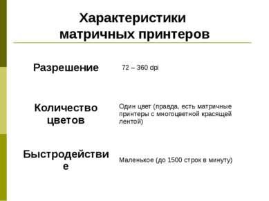 Характеристики матричных принтеров Разрешение 72 – 360dpi Количество цветов О...