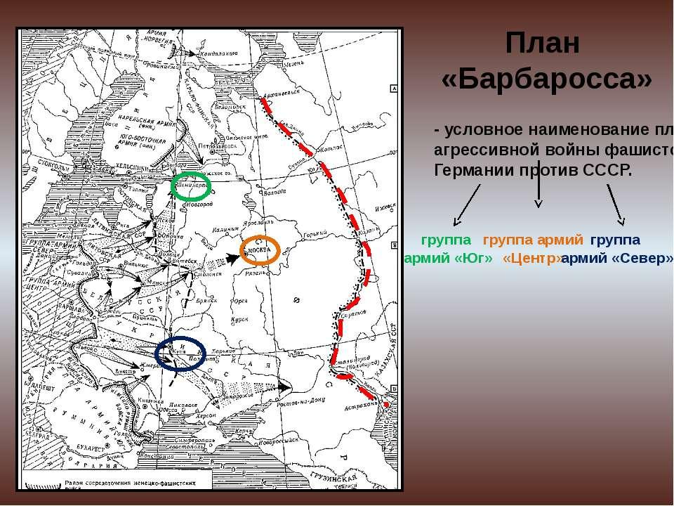 План «Барбаросса» - условное наименование плана агрессивной войны фашистской ...