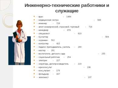 Инженерно-технические работники и служащие - врач - 1484 - медицинская сестра...