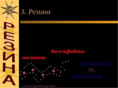 3. Резина При нагревании каучука с серой отдельные полимерные цепи сшиваются ...
