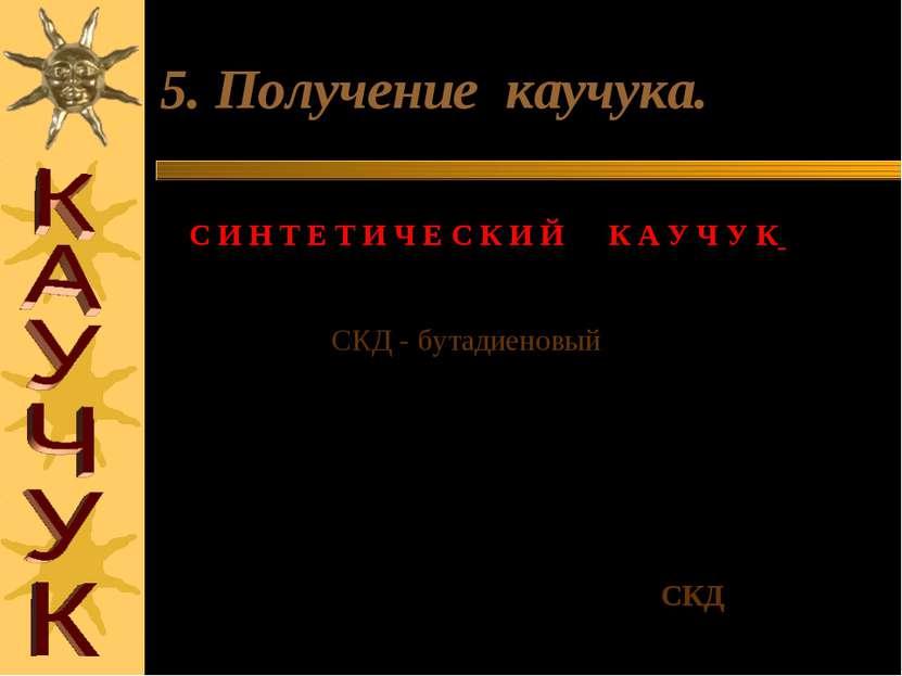 5. Получение каучука. С И Н Т Е Т И Ч Е С К И Й К А У Ч У К (1932 год С.В.ЛЕБ...