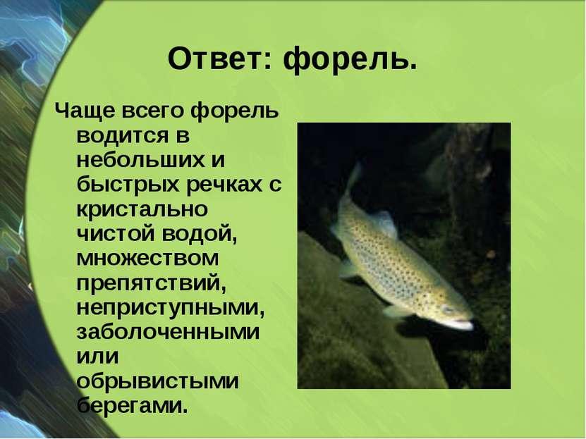 Ответ: форель. Чаще всего форель водится в небольших и быстрых речках с крист...
