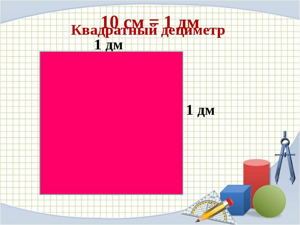 10 cм = 1 дм 1 дм 1 дм Квадратный дециметр
