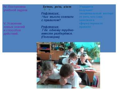 IV. Постановка учебной задачи V. Усвоение новых знаний и способов действий. Б...