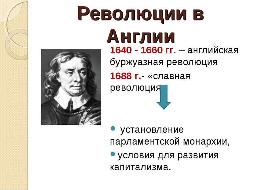 Революции в Англии 1640 - 1660 гг. – английская буржуазная революция 1688 г.-...