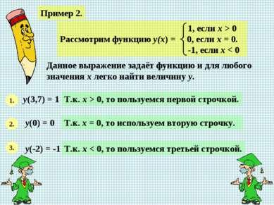 Пример 2. Данное выражение задаёт функцию и для любого значения х легко найти...