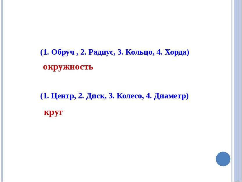 (1. Обруч , 2. Радиус, 3. Кольцо, 4. Хорда) (1. Центр, 2. Диск, 3. Колесо, 4....