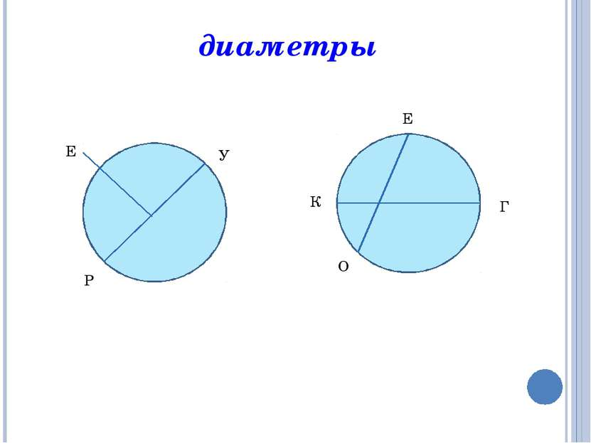 диаметры У Е Р Е К Г О