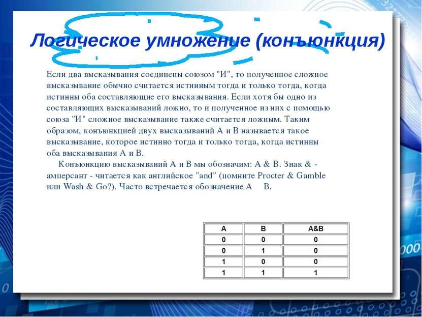 """Логическое умножение (конъюнкция) Если два высказывания соединены союзом """"И""""..."""