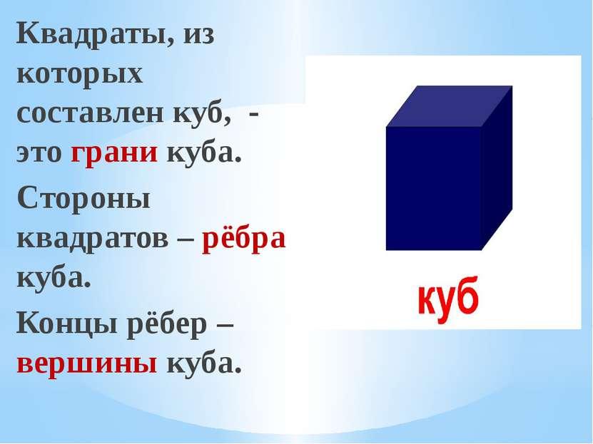 Квадраты, из которых составлен куб, - это грани куба. Стороны квадратов – рёб...