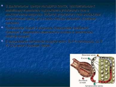 В дыхательном центре находятся клетки, чувствительные к малейшему изменению с...