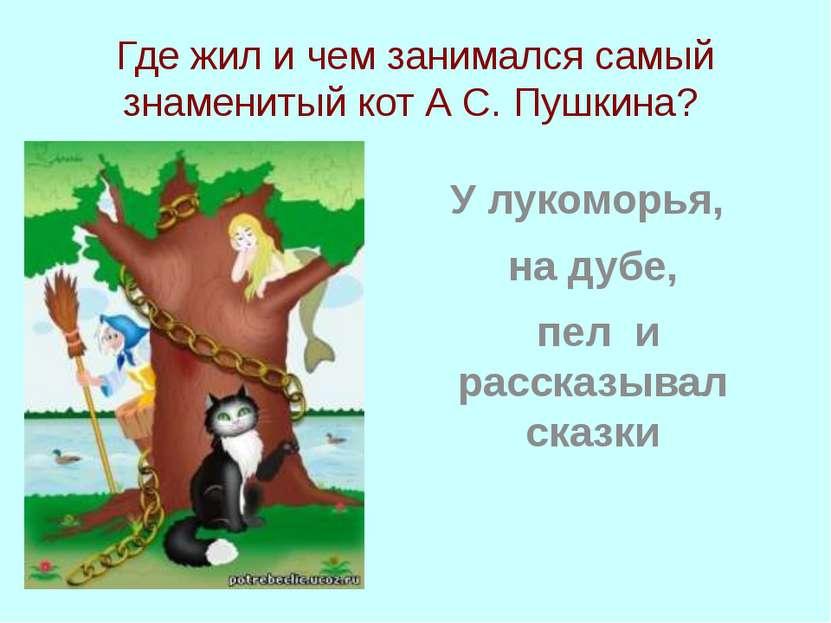 Где жил и чем занимался самый знаменитый кот А С. Пушкина? У лукоморья, на ду...