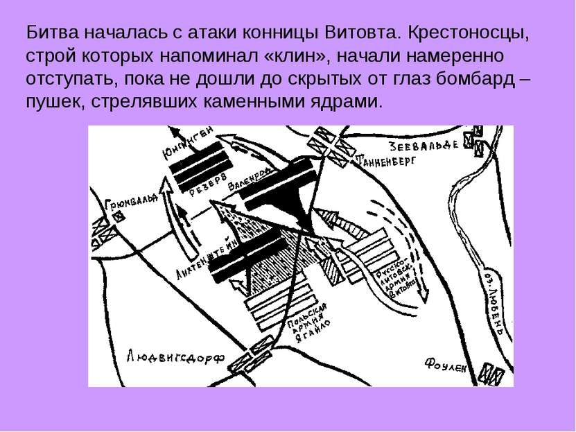 Битва началась с атаки конницы Витовта. Крестоносцы, строй которых напоминал ...