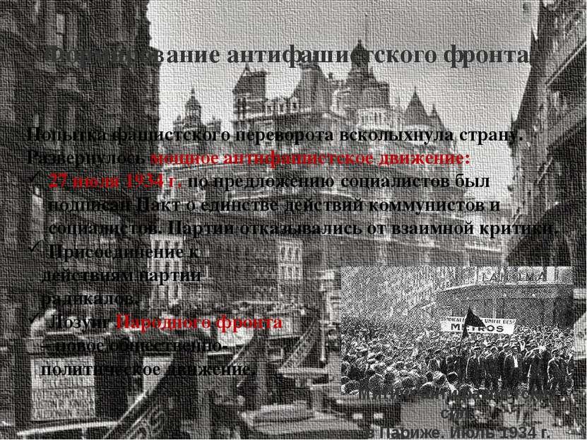 Формирование антифашистского фронта. Попытка фашистского переворота всколыхну...